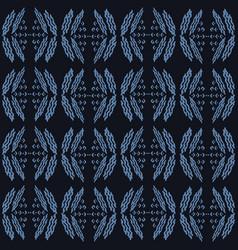 Indigo blue doodle leaf seamless pattern sketchy vector