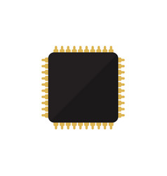 isolated microprocessor flat icon cpu vector image