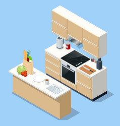 isometric minimalist kitchen room interior with vector image