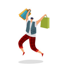 jumping shopping man happy customer with shopping vector image