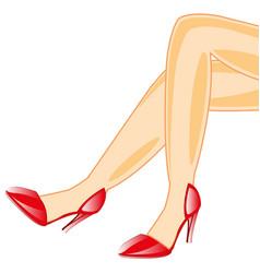 legs feminine in loafer vector image