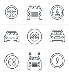 Line Icons Style Car Icons Set Design vector image