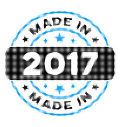 made in 2017 stamp halftone icon vector image