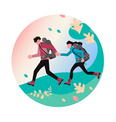 Man and woman backpackers vector