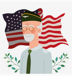 Memorial day card with veteran and usa flag vector