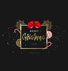 merry christmas design template hand lettering in vector image