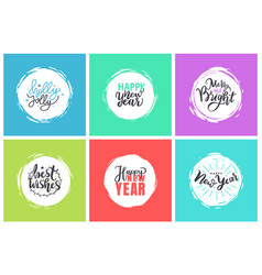 merry christmas holly jolly quote happy holidays vector image