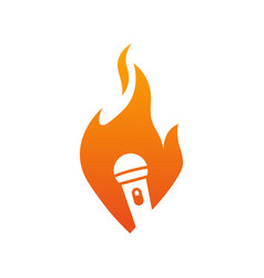 microphones flaming logo images vector image