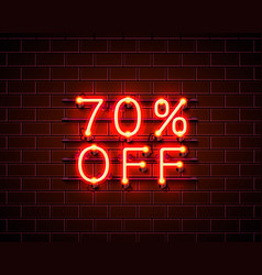 neon 70 off text banner night sign vector image