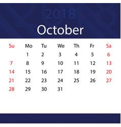 october 2018 calendar popular blue premium for vector image
