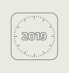 Outline clock with the new year date vector