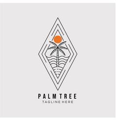 Palm tree line art logo design minimalist coconut vector