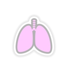 Paper sticker on white background human lungs vector