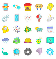 past icons set cartoon style vector image