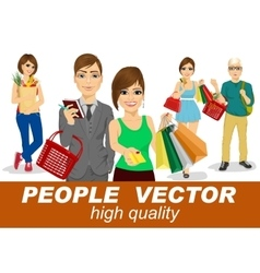 People with shopping people vector