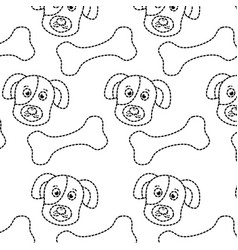Pet dog head and bone toy food pattern vector
