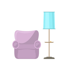 pink armchair and blue floor lamp vector image