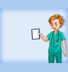 Plain background with male doctor holding notes vector