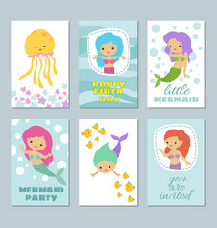 pretty bamermaids birthday greeting card vector image