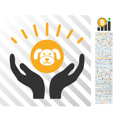 Puppycoin prosperity hands flat icon with bonus vector