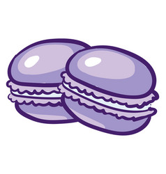 purple macaroons on white background vector image
