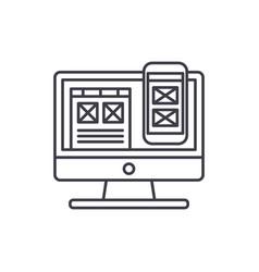 responsive app design line icon concept vector image
