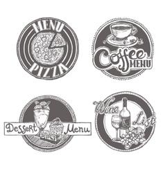 Restaurant sketch menu labels set vector image