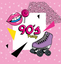Roller skate with icons nineties art style vector