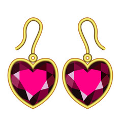 Ruby earrings mockup realistic style vector