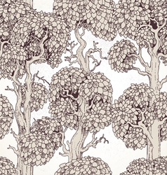 Seamless pattern of enchanted old trees graphic vector
