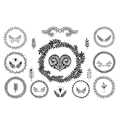 Set of handdrawn laurels wreath vector