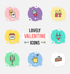 set valentines day objects and icon vector image