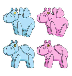 set with toy hippos with wings vector image
