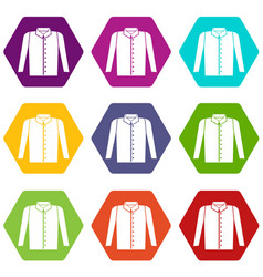 shirt icon set color hexahedron vector image