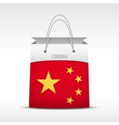 Shopping bag with China flag vector image
