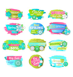 spring sale price tags on brush strokes springtime vector image