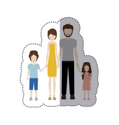 Sticker color silhouette family and dad with beard vector