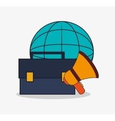 Suitcase and digital marketing design vector