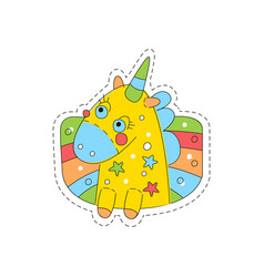 Sweet unicorn childish patch badge cute cartoon vector