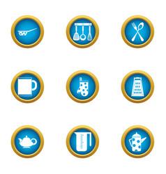 tea breakfast icons set flat style vector image