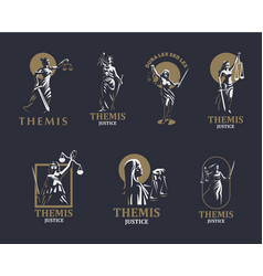the goddess of justice themis set vector image