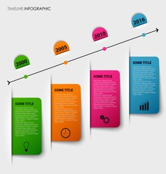 Time line info graphic with tucked colorful labels vector