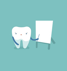 Tooth point at the whiteboard dental concept vector