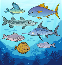 Various fishes underwater theme image 1 vector