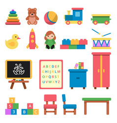 various toys for preschool kids vector image