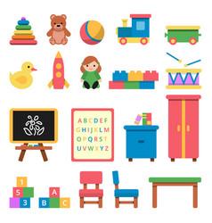 Various toys for preschool kids vector