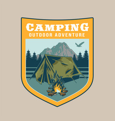vintage badge with tent outdoor vector image