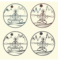 Vintage grunge labels rafting and kayaking vector