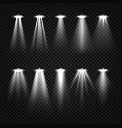 White beam lights spotlights isolated on dark vector