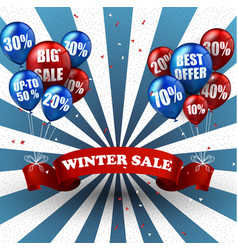 winter sale balloons and discounts background vector image